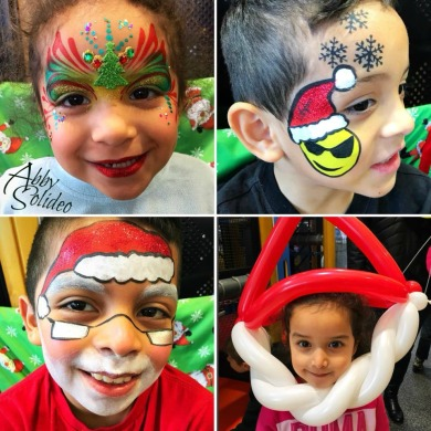 face_painting_christmas_snowman_balloon_twist_emoki_snowflakes_snow_princess_reindeer_rudolph_red_nose_tree_glitter_chicago_abby_solideo