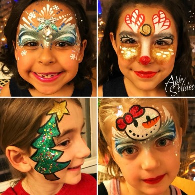 face_painting_christmas_snowman_snowgirl_snow_princess_reindeer_rudolph_red_nose_tree_glitter_chicago_abby_solideo