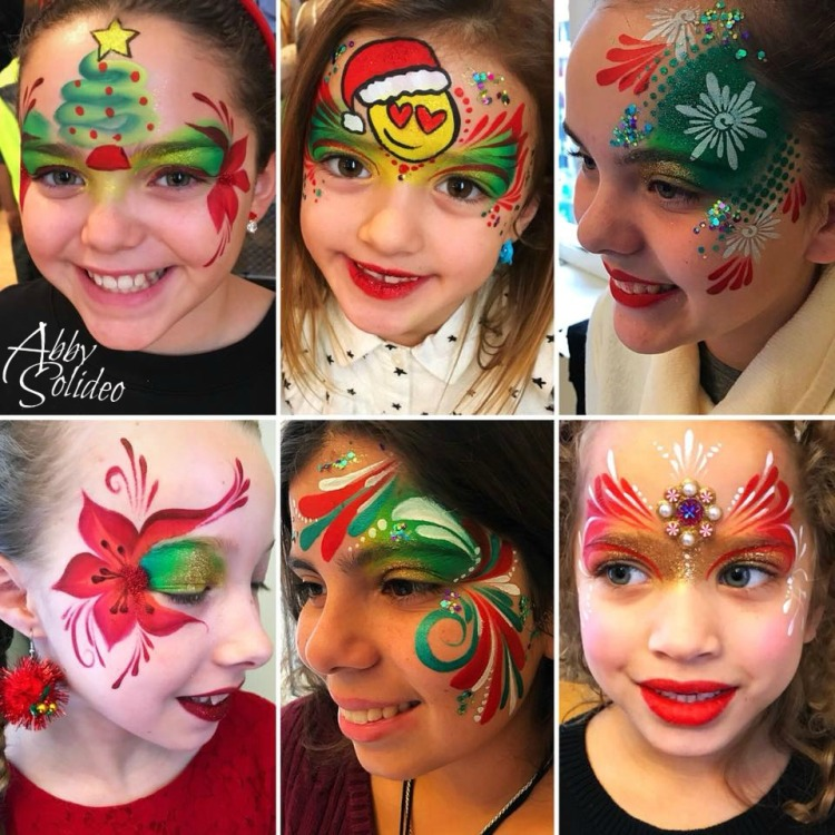 chicago_face_paint_abby_solideo_christmas_holiday_2017_tree_emoji_princess_bling_teen_poinsettia
