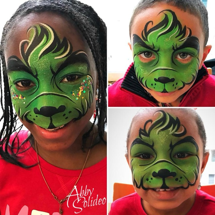chicago_grinch_christmas_abby_solideo_face_painting_boy_girl_design