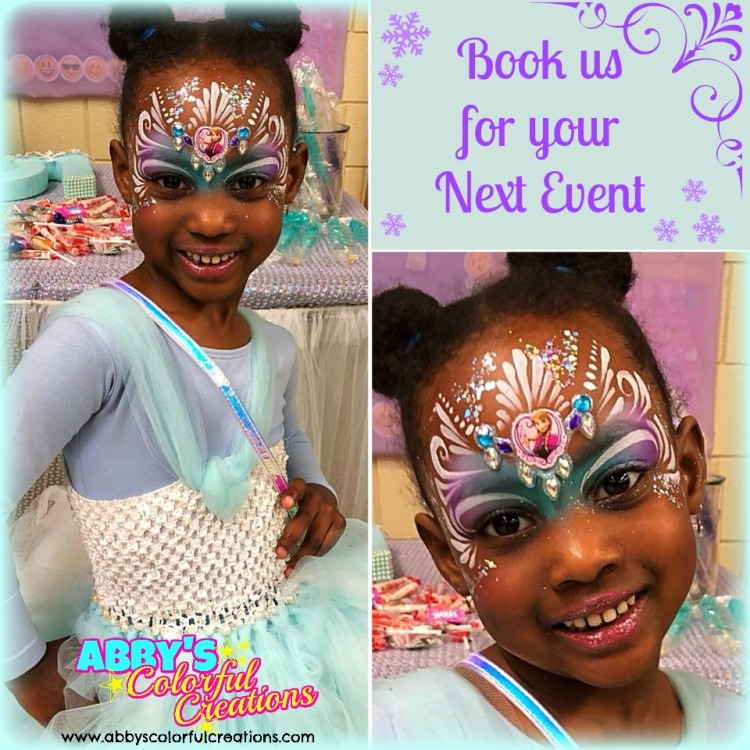 chicago_face_paint_abby_ascencio_princess_glitter_girl_design_frozen_ana_blue_crown_tutu_party_theme_birthday_