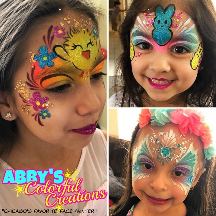 chicago_face_paint_easter_2018_bunny_peeps_chick_pink_butterfly_blue_glitter_girl_designs_flowers