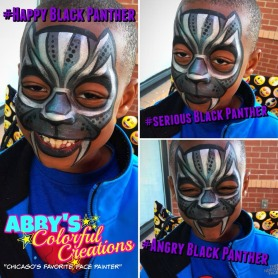 chicago_face_paint_abby_ascencio_boy_design_black_panther_silver_chick_fil_A_hashtag