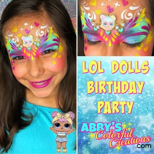chicago_face_paint_abby_ascencio_girl_design_glitter_pink_lol_dolls_baby_blue_