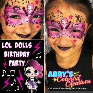 chicago_face_paint_abby_ascencio_girl_design_glitter_pink_lol_dolls_baby_blue_party_birthday