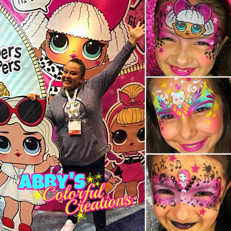 chicago_face_paint_abby_ascencio_girl_design_lol_dolls_pink_glitter_blue_bling_abbys_colorful_creations_lipstick_party_birthday