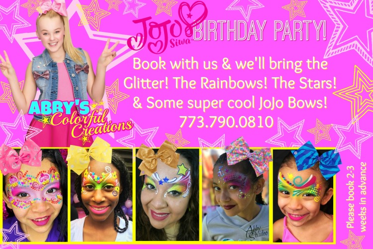 chicago_face_paint_abby_ascencio_jojo_siwa_party_bows_glitter_rainbow_stars_pink_hot_magenta_book_today_girl_design_colorful_Jojo_siwa_face_paint_painting