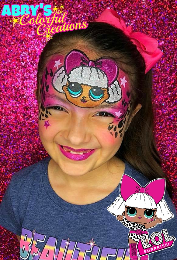 lol_doll_diva_face_paint_glitter_pink_girl_design_abby_ascencio_chicago_face_painter