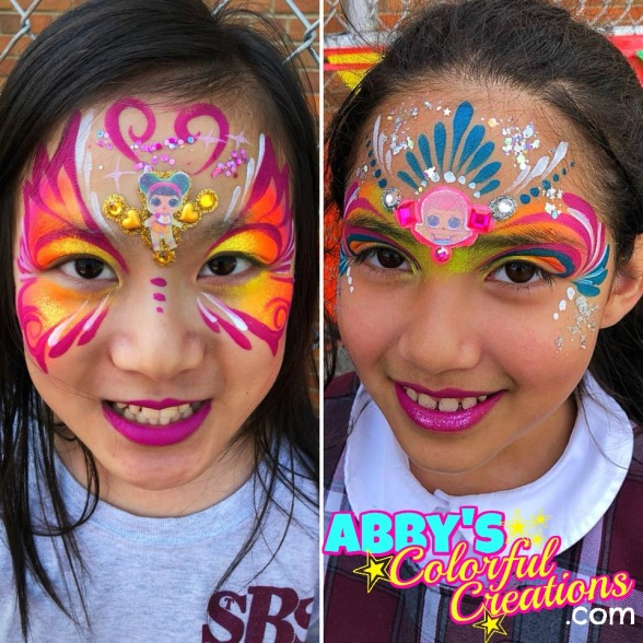 chicago_face_paint_abby_ascencio_girl_design_lol_dolls_pink_glitter_blue_bling_abbys_colorful_creations_lipstick_party_birthday.jpg