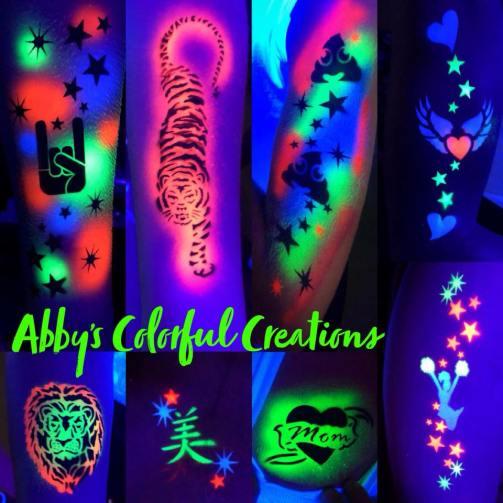 chicago_airbrush_tattoos_abby_ascencio_UV_glow_in_the_dark_arm_design_skull_boy_girl_neon_tiger_poop_emoji_cheerleader_lion_chinese_symbol_mom_hearts