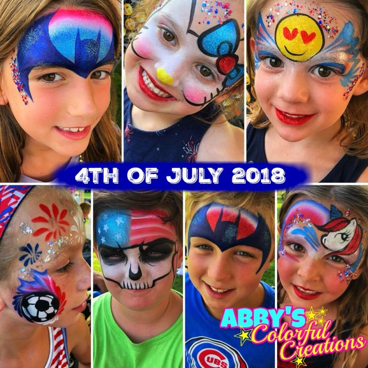 chicago_face_paint_abby_ascencio_solide_4th_of_july_festive_holiday_red_white_blue_batman_hello_kitty_emoji_soccer_ball_skull_unicorn_glitter_