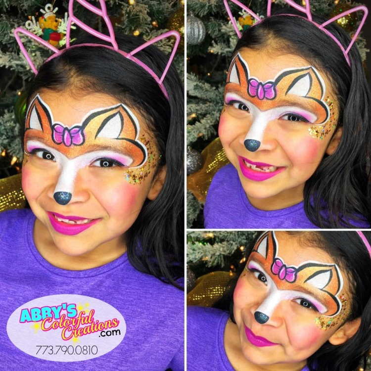 chicago_face_paint_painter_abby_ascencio_christmas_holidays_festive_santa_clause_reindeer_glitter_red_nose_rudolf_girl